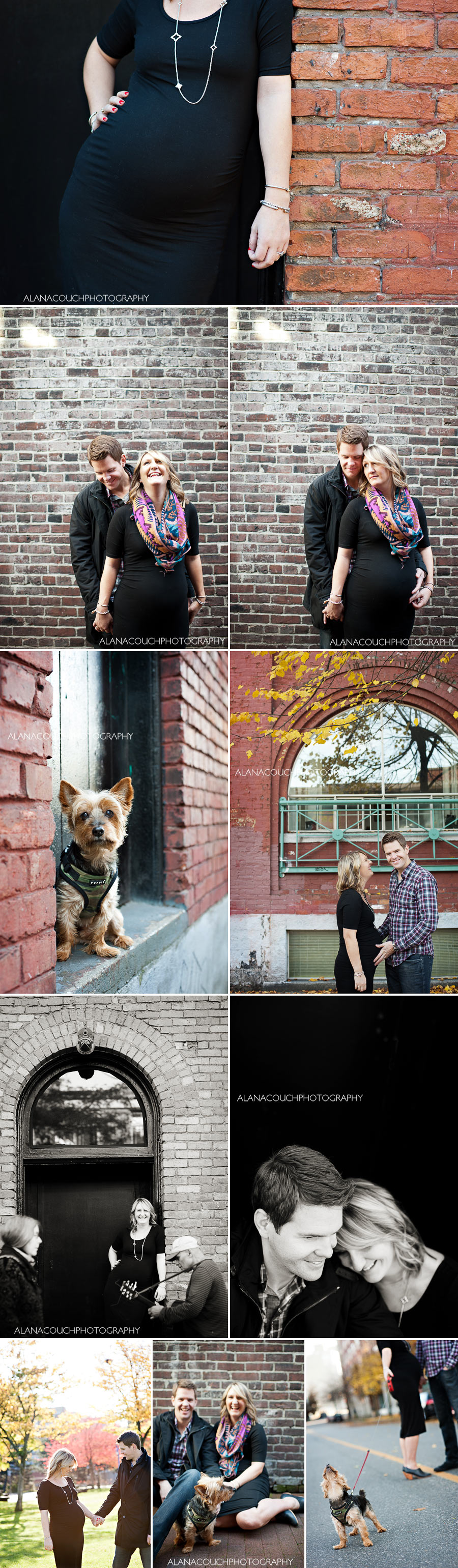 gastown-maternity-session-alana-couch-vancouver-brick-dog